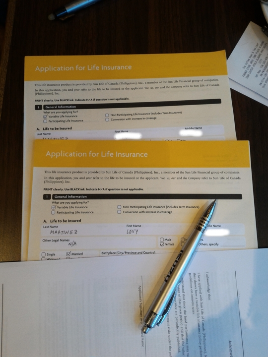 we started the year by applying to SunLife Flexilink Life Insurance